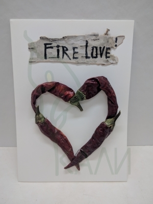 "Handmade gift card - ""Fire Love ! ""."