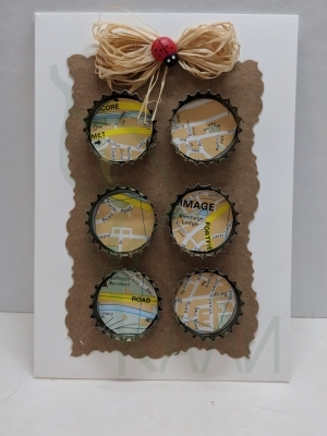 "Handmade gift card - ""Travelling caps"""