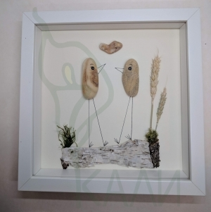 "Handmade framed artwork - ""Happy Chicken"""