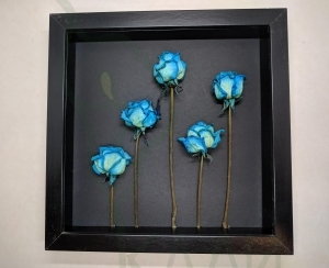 "Handmade framed artwork - ""Blue Roses"""