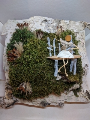Handmade artwork with preserved moss & artificial cactuses & suculents