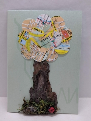 "Handmade gift card - ""Travelling tree"""