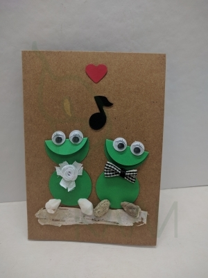 "Handmade gift card - ""Happy frogs"""